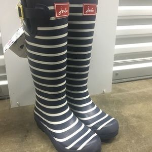 Joules Navy White Stripe Rain Boots
